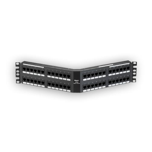 """Panduit DPA485E88TGY 48-port, Cat5e, patch panel with 48 RJ45, 8-position, 8-wire ports. 2 rack spaces"""