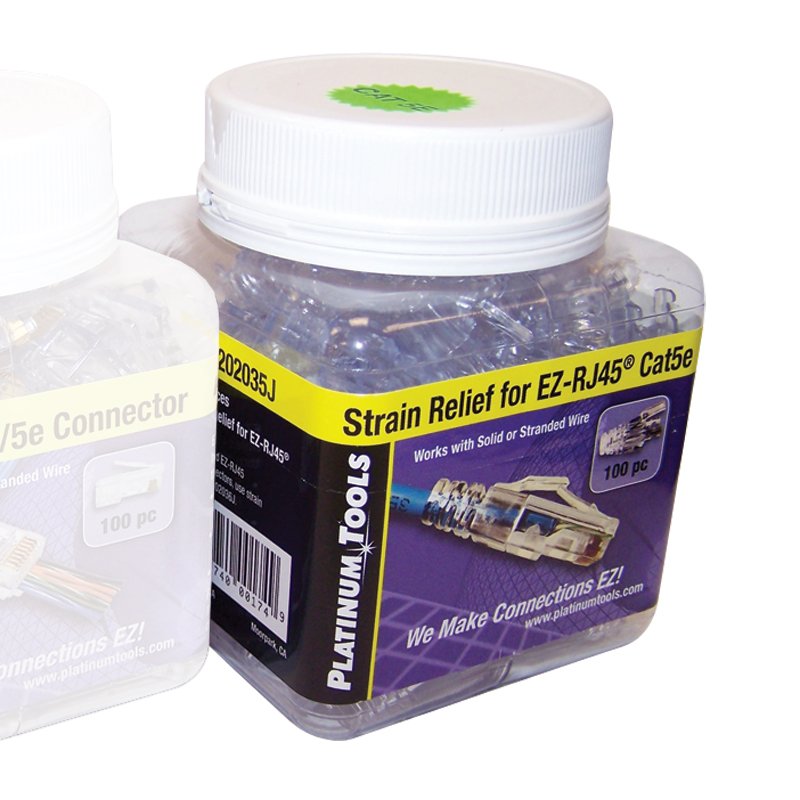 Platinum Tools 202035J Strain Relief for EZ-RJ45 Cat 5e Connector. Jar of 100.