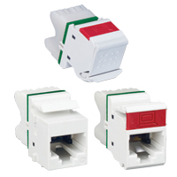 """Siemon MX6-20 Angled module, T568A/B, rear strain relief cap and protective color-matching rubber door, Ivory"""