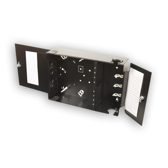 """Siemon SWIC3G-(X)(X)-01 Wall mount interconnect center with integrated jumped guard, black"""