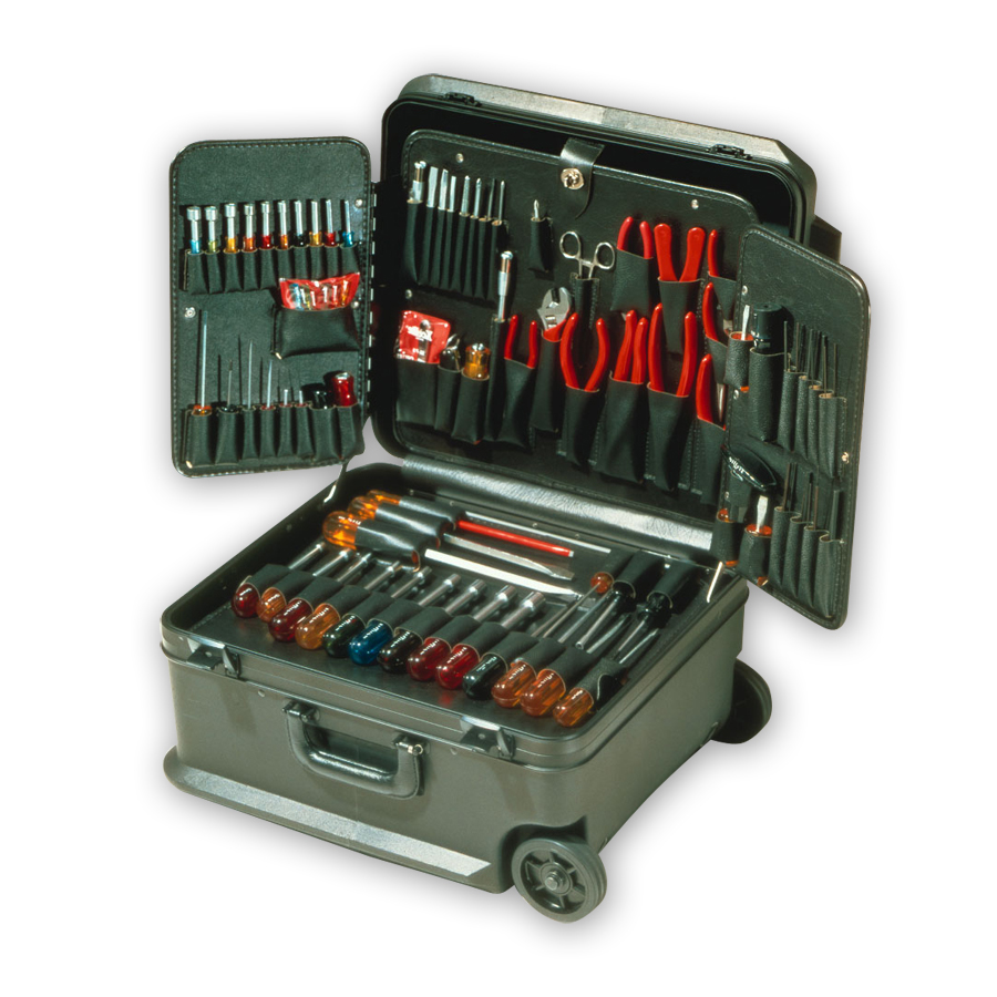 XceliteTCMB100STW Black Attache Tool Case with Wheels - with Tools